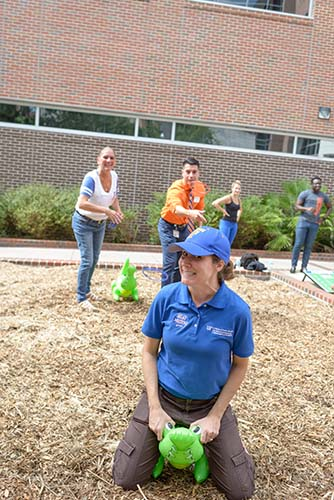 The UF colleges of Nursing, Pharmacy, and Public Health and Health Professions joined together for the third annual HPNP Field Day on Oct. 13 to benefit UF's Campaign for Charities. Participants played games, listened to music and raised more than $1,100 for local charities. — Jill Pease